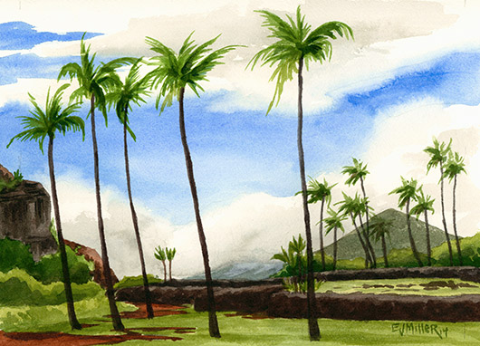 Poliahu Heiau Kauai watercolor painting - Artist Emily Miller's Hawaii artwork of heiau, kapaa, palm trees art