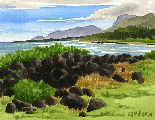 Kukui Heiau Kauai watercolor painting - Artist Emily Miller's Hawaii artwork of kapaa, heiau, beach, ocean art