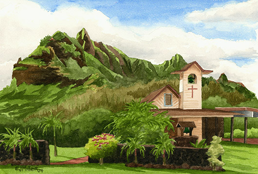 Koolau Huiia Church Kauai watercolor painting - Artist Emily Miller's Hawaii artwork of kalalea, anahola, church, mountain art