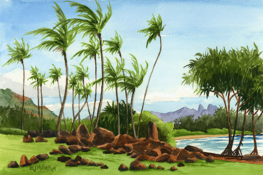 Hikinaakala Heiau Kauai watercolor painting - Artist Emily Miller's Hawaii artwork of kalalea, heiau, kapaa, palm trees, lydgate, ocean art