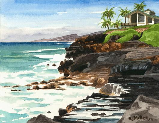 Makahuena Point, Poipu Kauai watercolor painting - Artist Emily Miller's Hawaii artwork of poipu, cliffs, ocean art