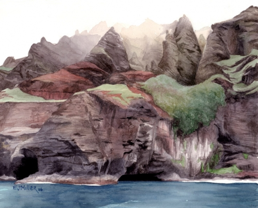Na Pali Caves Kauai watercolor painting - Artist Emily Miller's Hawaii artwork of awaawapuhi, na pali, cliffs, ocean art