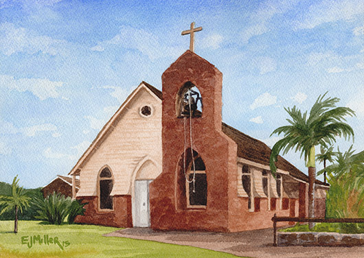 St. John's, Eleele Kauai watercolor painting - Artist Emily Miller's Hawaii artwork of church art