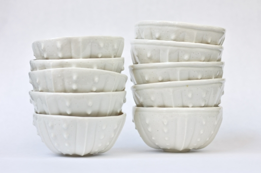 Urchin Rice Bowl - White, Urchin Bowls -  artwork by Emily Miller