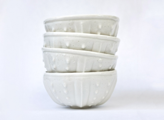 Urchin Rice Bowl - White, $90.00 Set of 4.