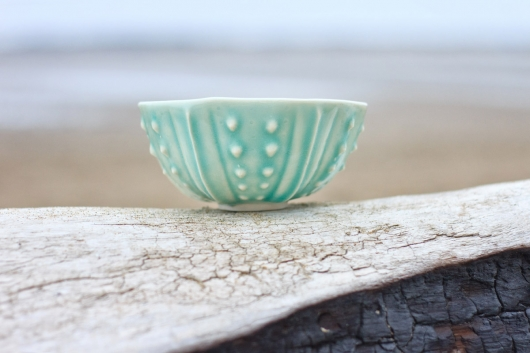 Urchin Rice Bowl - Aquamarine, Urchin Bowls -  artwork by Emily Miller