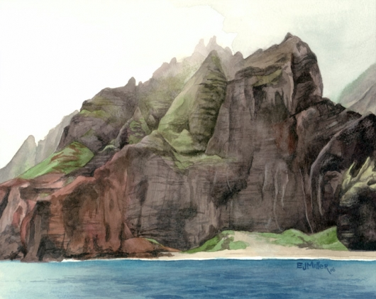 Na Pali 2 Kauai watercolor painting - Artist Emily Miller's Hawaii artwork of na pali, cliffs, mountains, beach, ocean, honopu art