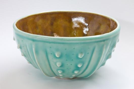 Urchin Rice Bowl - Aquamarine & Orange, 2014