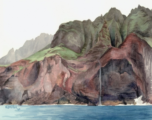 Na Pali 3 Kauai watercolor painting - Artist Emily Miller's Hawaii artwork of na pali, ocean, cliffs, mountains art