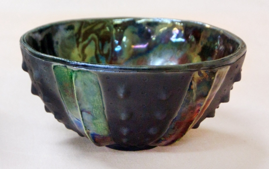 Urchin Raku Bowl - Oil Slick, 2014