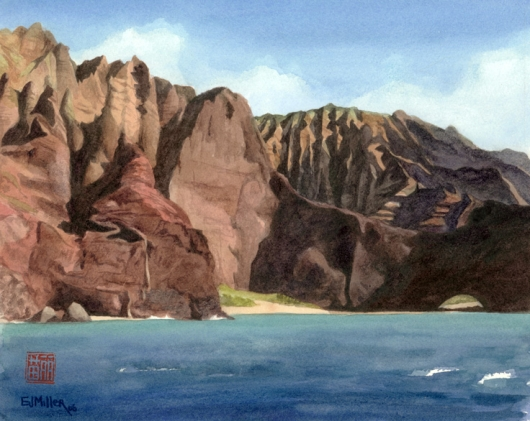 Kauai Artwork by Hawaii Artist Emily Miller - Na Pali Arch