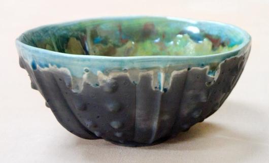 Urchin Raku Bowl - Turquoise Drip, 2014