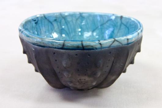 Urchin Raku Bowl - Turquoise Crackle, 2014