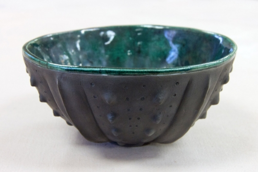 Urchin Raku Bowl - Evergreen, Urchin Bowls -  artwork by Emily Miller