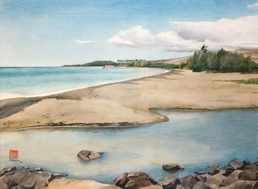 Waimea River, Makai — Kauai beaches - beach, ocean, waimea, pier, river artwork by Emily Miller