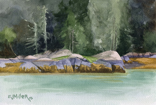 Mid-Tide, Freese Island, Down East Maine -  artwork by Emily Miller