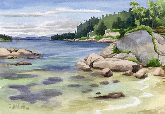 Stonington Sand Beach, Deer Isle, Down East Maine -  artwork by Emily Miller