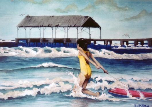 Boogie, Architecture - girl, boogie board, waves, hanalei, ocean, pier artwork by Emily Miller