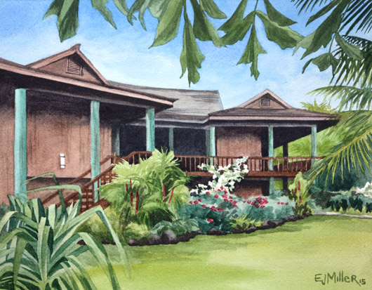 Poipu tropical home Kauai watercolor painting - Artist Emily Miller's Hawaii artwork of poipu, garden, plantation style, house art