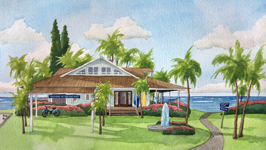 Secret Beach House Kauai watercolor painting - Artist Emily Miller's Hawaii artwork of house, ocean art