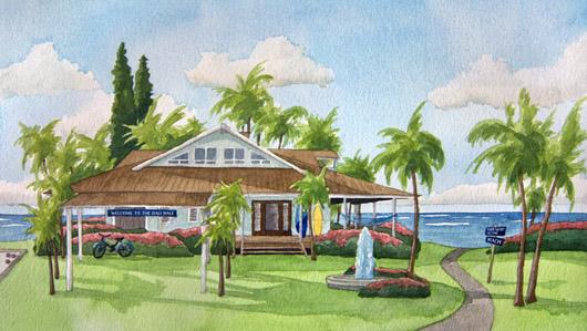 Secret Beach House Architecture Ocean Artwork By Emily Miller