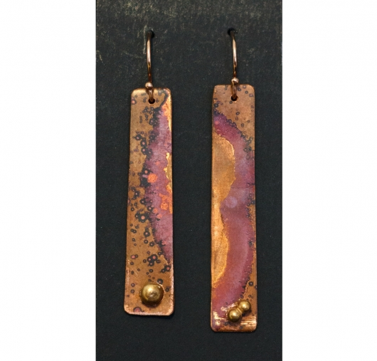 Copper Earrings - patina rectangle, $25
