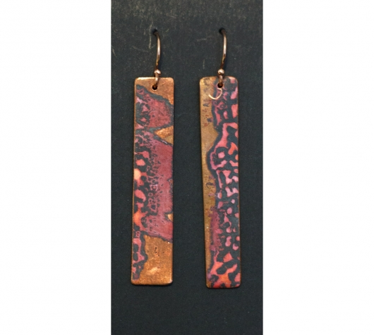 Copper Earrings - patina rectangle, Copper Earrings -  artwork by Emily Miller