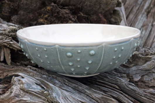 Urchin Serving Bowl - Mist, Urchin Bowls -  artwork by Emily Miller