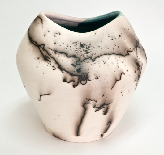 Horsehair Raku oval top vase, Ceramics -  artwork by Emily Miller