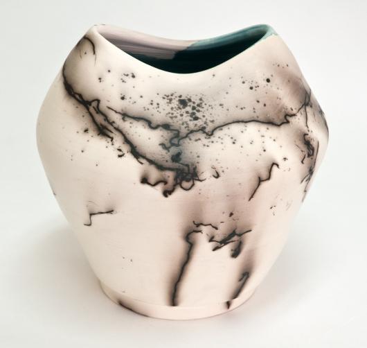Horsehair Raku oval top vase, 2015 •