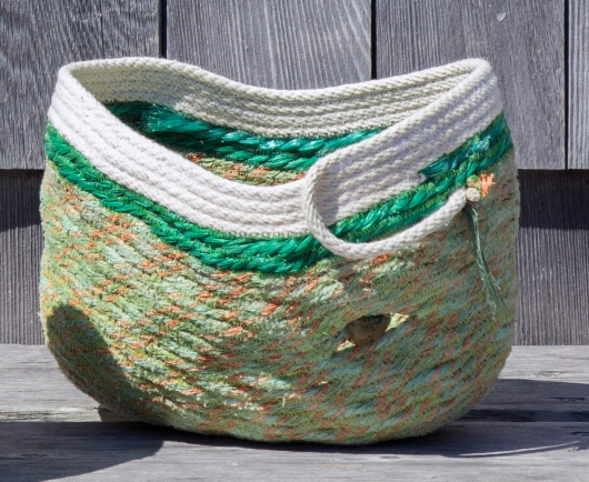Green Lobster Basket 3, Ghost Net Baskets -  artwork by Emily Miller