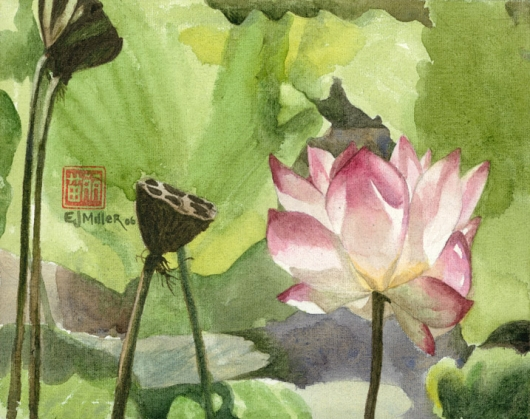 Kauai Artwork by Hawaii Artist Emily Miller - Lotus (Pond)