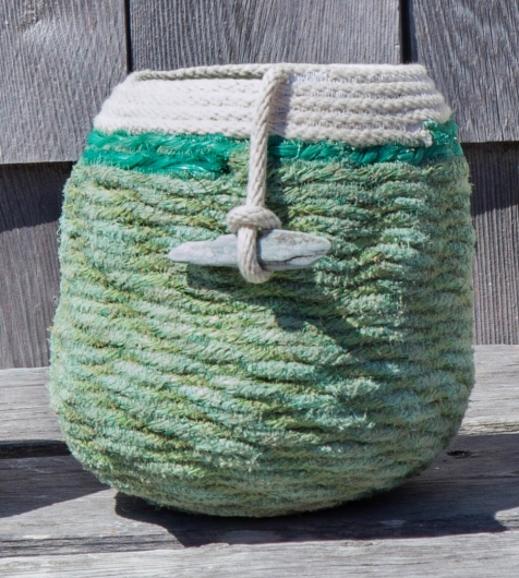 Green Lobster Basket 2, Rope Baskets -  artwork by Emily Miller