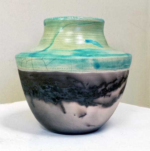 Horsehair Raku Shoulder Vase, 2016