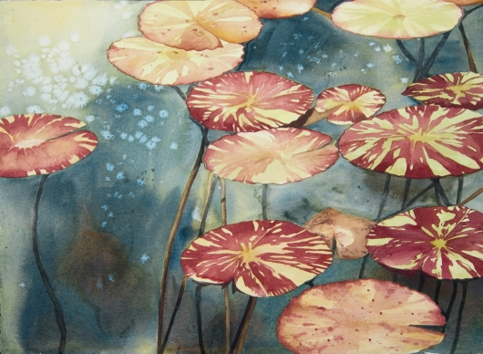 Pads (commission) Kauai watercolor painting - Artist Emily Miller's Hawaii artwork of lily pads art