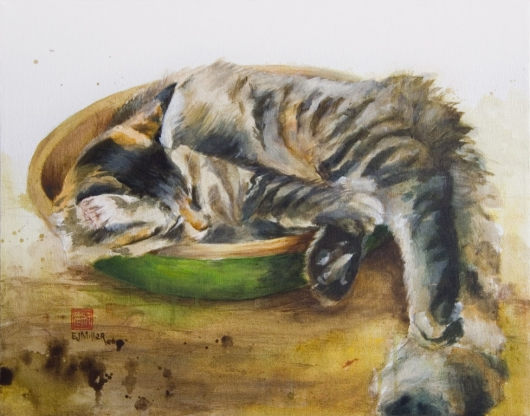 Cat In A Bowl,  -  artwork by Emily Miller