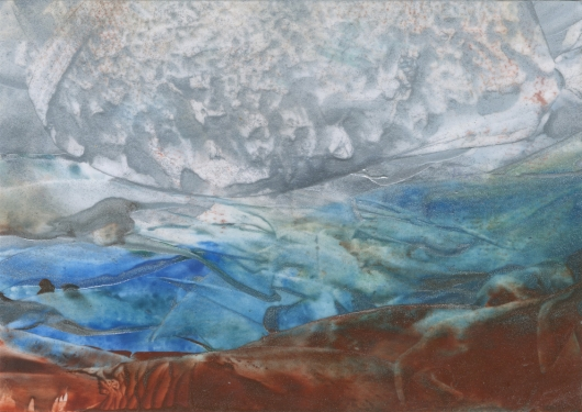 Dusk Frost, abstract encaustic wax painting by Emily Miller
