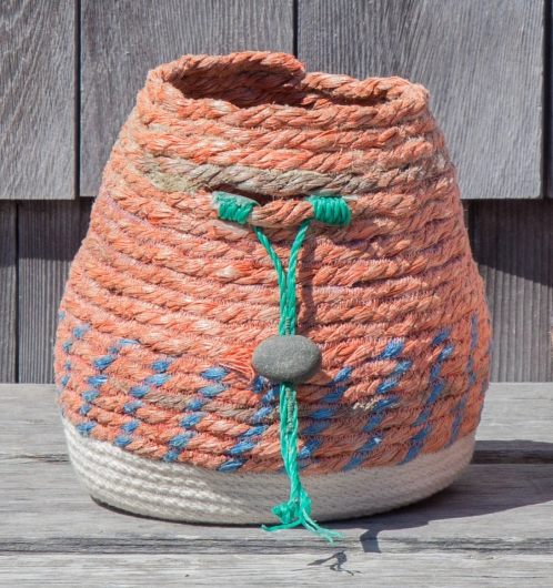 Pink Lobster Basket 1, Rope Baskets -  artwork by Emily Miller