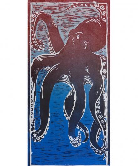 he'e - blue / red ii, he'e -  artwork by Emily Miller