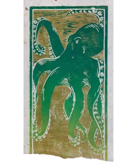 he'e - green / gold, he'e -  artwork by Emily Miller