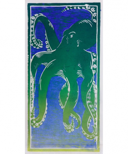 he'e - green / blue ii, he'e -  artwork by Emily Miller