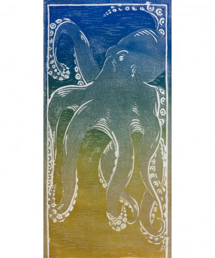 he'e - blue / green / gold, he'e -  artwork by Emily Miller