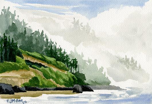 Fog at Neptune Beach North, Oregon Coast - beach, oregon coast artwork by Emily Miller