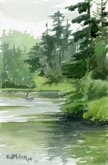 Evening at Lake Marie, Oregon Coast - lake, boat, green artwork by Emily Miller