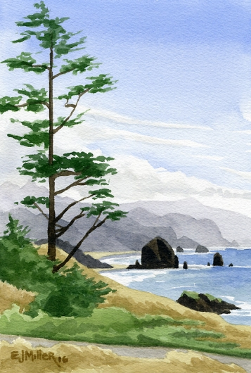Cannon Beach from Ecola State Park, Oregon - beach, cannon beach, haystack rock, oregon coast artwork by Emily Miller