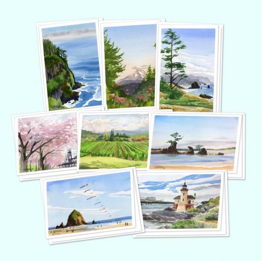 Greeting card set - Oregon, Oregon -  artwork by Emily Miller