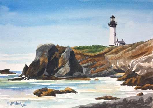 Yaquina Head Lighthouse from Cobble Beach, Oregon Coast - beach, lighthouse, oregon coast artwork by Emily Miller