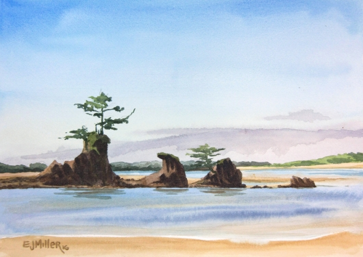 Sea Stacks at Siletz Bay, Oregon Coast - beach, oregon coast artwork by Emily Miller