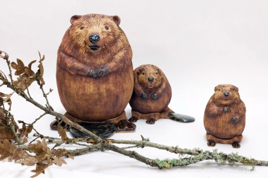 Beaver Family, Menagerie -  artwork by Emily Miller