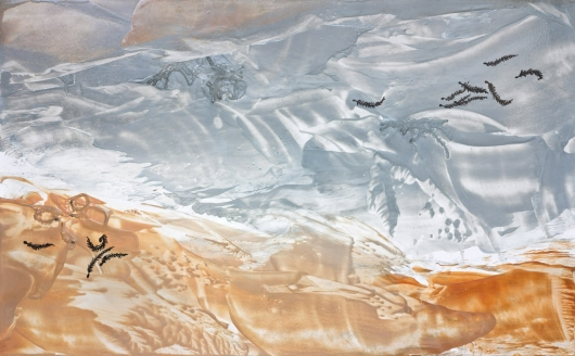 Wind Seeds I, cascadia winter - abstract art, contemporary art, painting, gray, orange, drawing artwork by Emily Miller